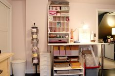 A lovely, well stocked and organized shipping area, with a backup of necessary supplies - ink, labels, tape, boxes, bubble wrap, envelopes, etc.  You can gather items to ship - take them to the shipping area and package them with ease.