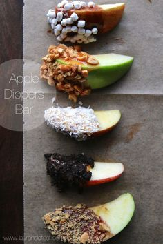 Apple dippers bar! A great game day snack recipe or holiday party recipe. Kids will love this
