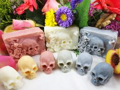 """Artist Eden Gorgós has handcrafted a charming line of skull soaps to remind everyone of """"the transient nature of earthly pleasures."""" The soaps come in a variety of colors and scents, from ghoulish lavender musk to macabre lemon ginger."""