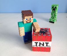 Make a Minecraft Steve figure out of just beads and toothpicks!