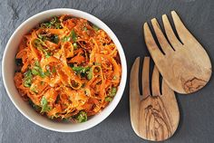 Sesame Carrot Salad: The spicy and sweet flavors of this sesame carrot salad hold up even better the next day. Prep it the night before and wow your friends when they show up for your party later that week!