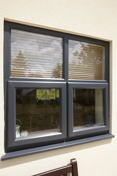 A fine example of a Rehau Casement Window in popular anthracite grey colour. Why not give your home an upgrade with an energy efficient beautiful window. Rehau Windows, Front Doors With Windows, Casement Windows, Sash Windows, House Windows, Black Windows, Window Frame Colours, Grey Window Frames, Yangon