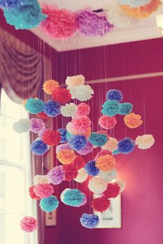 Just for fun, some pom pom goodness to brighten your day! How beautiful is the photo above? These pretties have all been created by Pom Pom Factory. All images via Pom Pom Factory here and here Diy And Crafts, Arts And Crafts, Tissue Paper Flowers, Tissue Paper Pom Poms Diy, Paper Poms, Tissue Paper Crafts, Hanging Flowers, Diy Hanging, Ceiling Hanging