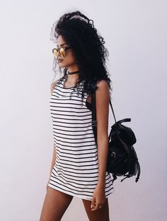 Finíssimas Fashion: Look do dia || Outfit : Striped Dress! ⚡