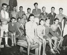 May 1945 POWs in a Rangoon Camp pictured upon release.