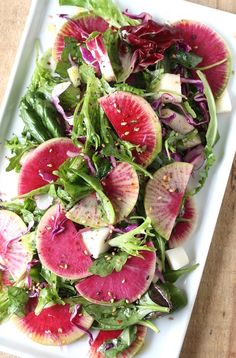 Watermelon Radish Holiday Salad with Asian Citrus Dressing recipe by SeasonWithSpice.com @seasonwithspice