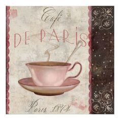 Cafe de Paris, Vintage Coffee Wall Decor Print