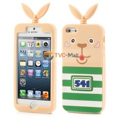 Green Stripes No541 Cartoon Rubber Silicone Case for iPhone 5