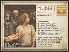 Lembas Bread and other recipes inspired by LOTR and the Hobbit Old Recipes, Vintage Recipes, Bread Recipes, Cooking Recipes, Recipies, Cooking Bread, Party Recipes, Lembas Bread, Hobbit Party