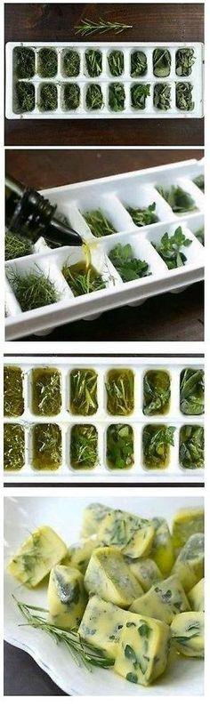 8 Steps for freezing herbs in oil~ the oil-and-freezer method of preservation works best with the tougher hard herbs such as rosemary, sage, thyme, and oregano. These are all herbs that would probably be cooked when added to a dish.  Soft herbs such as mint, basil, lemon verbena, and dill are usually added raw to a dish, and they don't respond as well to this kind of preserving.