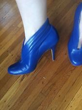 SCORAH PATTULLO LONDON COBALT BLUE LEATHER ANKLE BOOTS SIZE 36  US 6 $695 ITALY