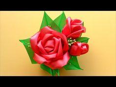 Как сделать Красивые Розы из лент / Kanzashi Satin Ribbon Rose Tutorial / ✿ NataliDoma - YouTube