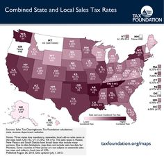 Combined State and Local Sales Tax Rates - by the Tax Foundation.  Tennessee has the highest average combined rate at 9.44%, and is followed closely by Arkansas (9.18%) and Louisiana (8.89%). On the other end of the spectrum are states with no sales taxes: Oregon, Delaware, and New Hampshire.