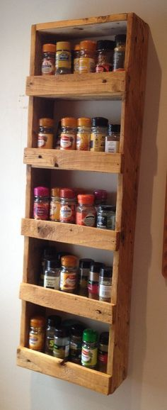 Super easy spice rack – cross slats could be positioned to hide supports under shelves, screws, etc.