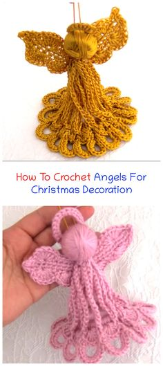 How To Crochet Angels For Christmas Decoration - Crochet Ideas Crochet Angels, Crochet Cross, Crochet Yarn, Free Crochet, Easy Crochet Patterns, Crochet Ideas, Christmas Crafts, Christmas Decorations, Xmas