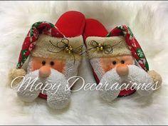 Pantuflas Navideñas, Christmas slippers - YouTube Diy And Crafts, Christmas Crafts, Christmas Decorations, Christmas Ornaments, Holiday Decor, Primitive Doll Patterns, Christmas Clay, Ciabatta, Christmas Stockings