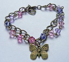 Charm and swarovski crystal bracelet by VirtuallyVintagebyK, £12.00