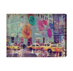 NYC Fashion Taxi Graphic Art on Wrapped Canvas