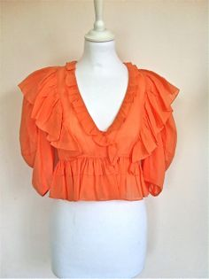 Chloe Peach Cotton Frilled Blouse Size 38 via The Queen Bee. Click on the image to see more!
