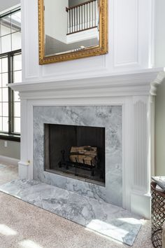 Super White Quartzite around fireplace Granite Fireplace, Fireplace Redo, White Fireplace, Fireplace Hearth, Marble Fireplaces, Living Room With Fireplace, Fireplace Surrounds, Fireplace Design, Home Living Room