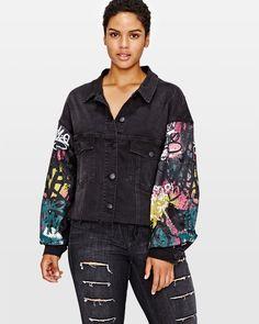 L&L Cropped Denim Jacket with Graffiti Print