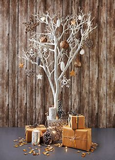 Christmas cheer: all present and correct – in pictures, Christmas tree decorations, Unusual Christmas Trees, Christmas Branches, Elegant Christmas Decor, Alternative Christmas Tree, Wooden Christmas Trees, Rustic Christmas, Christmas Home, White Christmas, Christmas Cactus