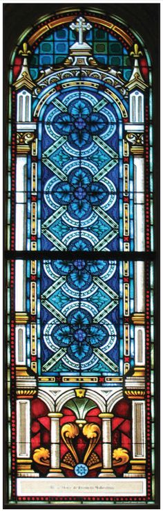 Patterned Stained Glass, Replicated by Conrad Schmitt Studios, Basilica of St. Josaphat, Milwaukee, Wisconsin