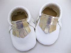 Baby Girl Moccs - White & Gold - Leather Baby Moccasin - A bit of Lovely on Etsy.  Handmade baby shower gift.  Cute.  Toddler. Child fashion.