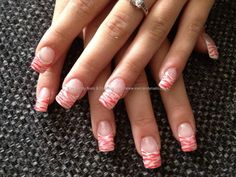 Full set of acrylic with white tips and pink zebra print as nail art