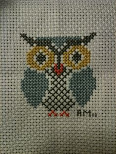 Owl Finished | by alysealexandra Cross Stitch Designs, Cross Stitch Patterns, Pokemon Perler Beads, Cross Stitch Boards, Cross Stitch Embroidery, Crochet Stitches, Lana, Needlework, Embroidery Designs