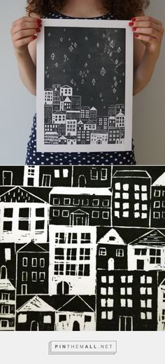 There is no better night, than a beautiful starry night! Original black linocut print on white 100qm paper, made on an original letterpress. Prints are signed and numbered by the artist. There are no exact same prints, Every print has fuel printing effects, which are different on every sheet. Each copy printed manually by the artist Anna Grunduls