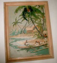 Island Living  Vintage Paint By Number Painting by studiostebbylee, $38.00