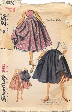 Simplicity 3828 - 1950s Circle Skirt and Petticoat Sewing Pattern, offered on Etsy by GrandmaMadeWithLove
