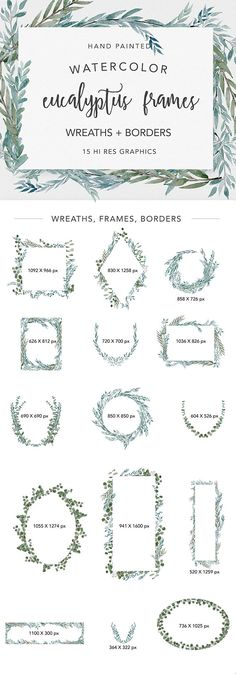 EUCALYPTUS FRAMES is a handpainted watercolor collection of wreaths, branches, greenery, and botanical leaves, modeled on varieties of eucalyptus. All are crafted carefully into beautiful frames, wreathes, and borders for quick and easy incorporation into projects. It is modern, soft,
