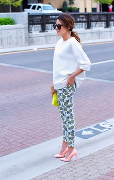 pineapple pants! + pink pump