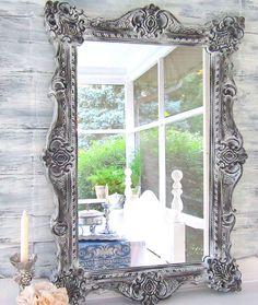 "Decorative Wall Mirrors DECORATIVE VINTAGE MIRRORS For Sale Large Mirror Mantel Mirror 41""x29"" Black White Framed Vanity Mirror Shabby Chic. $229.00, via Etsy."