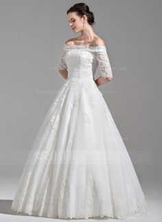 Ball-Gown Off-the-Shoulder Floor-Length Ruffle Beading Sequins Lace Up Sleeves 1/2 Sleeves Church General Plus No Winter Spring Fall Ivory Tulle Wedding Dress