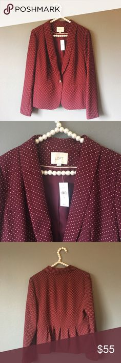 NWT Loft Burgundy Dot Blazer So cute and perfect for work or play! Brand new with $98 tags. Size medium. Burgundy red color. No trades!! 03717100gwb LOFT Jackets & Coats Blazers