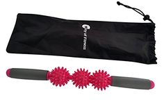 Joy of Fitness Massage Stick, Muscle Trigger Point Therapy, Relieve Muscles Pains Massage Roller Stick, Self Massage Bar, Yoga Massager, Ergonomic Padded Grip 3 Spiky Balls Massage Tool (Red Rose): Relieve tense muscles & reduces muscle pain/b Spiky Balls Massage Roller Stick is ideal for massaging larger areas of the body such as back, shoulder, waist, neck, thigh, feet, arms, etc. In addition to work on larger general muscular areas, the spiky massager can target specific trigger p...