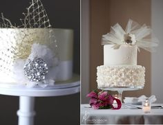 """The Pastry Studio (Mark Dickinson Photography) right, or """"merry widow veiling""""  (left) by Couture Cupcakes & Cookies."""
