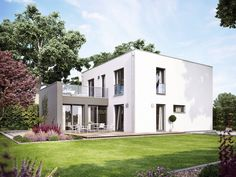Flaches Dach und viel Wohnfläche: Das zeitlose Fertighaus ProCubus 142 bietet zwei vollwertige Geschosse ohne Schrägen. Wohnkomfort ohne Schnörkel mit extra viel Raum zum Leben.