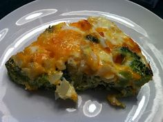 BROCCOLI PIE (makes 6-8 servings) * 3 cups/10 ounces chopped broccoli, cooked and well drained * 1 onion, chopped * 8 ounces cheddar cheese, shredded * 6 eggs * 1 cup half and half * salt and pepper