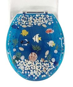 Transparent Fish Aquarium Standard Size Toilet Seat with   https www 58 99   Ocean themed acrylic toilet seat  fish  coral  shells  . Tropical Fish Toilet Seat. Home Design Ideas