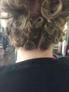 Pin curls pinned to create more of a curl