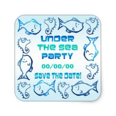 #fishing - #Seahorses and Fish Save the Date Square Sticker