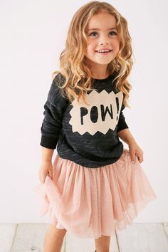 Pair slogan tops with a tutu skirt for a perfect rock chick look! Pair slogan tops with a tutu skirt for a perfect rock chick look! Tutu Outfits, Baby Outfits, Children's Outfits, Little Girl Outfits, Little Girl Fashion, Child Fashion, Fashion Clothes, Little Girl Style, Kids Outfits Girls