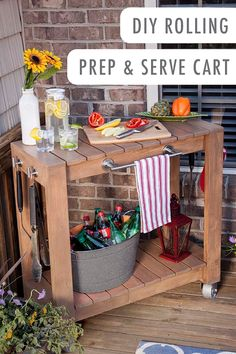 If you agree that the summer wouldn't be complete without grilling and barbecues, then this DIY rolling prep and serve cart from @HomeDepot is perfect for your outdoor patio space!