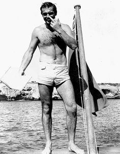 Sean Connery giving the finger on the set of Thunderball (1965).