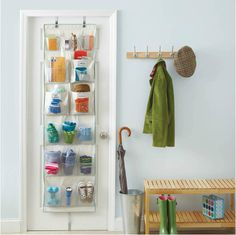 These over-the-door storage products won't tidy your entire home, but small organization projects are an encouraging way to start! Home Organisation Tips, Small Bedroom Organization, Small Bedroom Storage, Storage Spaces, Organization Hacks, Over The Door Organizer, Door Shoe Organizer, Door Storage, Pocket Organizer