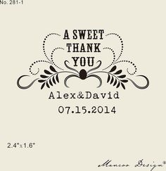 a sweet thank you rubber stamp great for candy bar by mancoostamp, $12.00